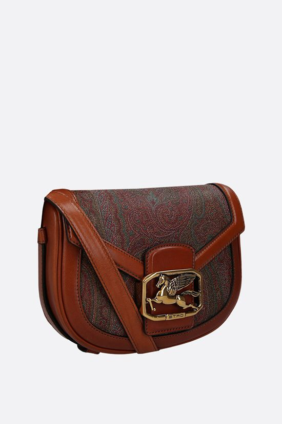 ETRO: Pegaso medium crossbody bag in paisley canvas and leather Color Brown_2
