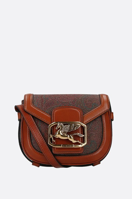 ETRO: Pegaso crossbody bag in Paisley canvas and leather Color Brown_1