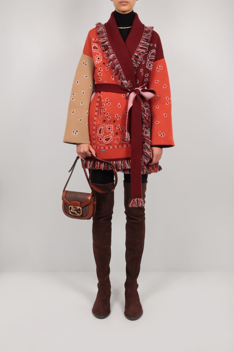 ETRO: Pegaso crossbody bag in Paisley canvas and leather Color Brown_2