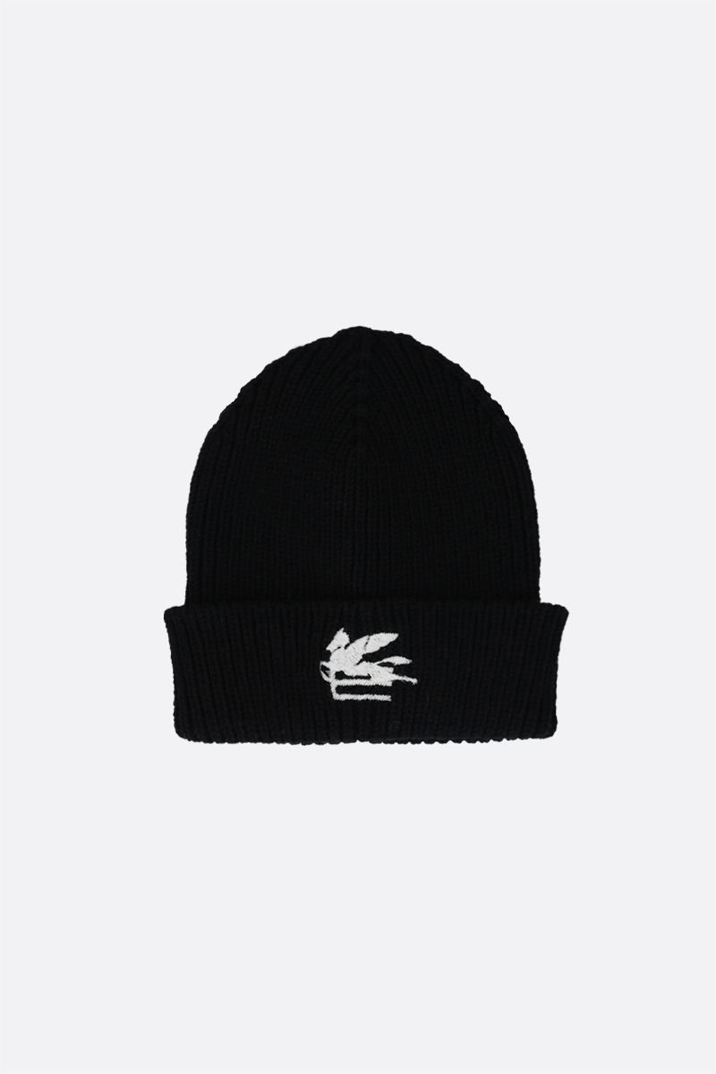 ETRO: Pegaso embroidered wool beanie Color Black_1