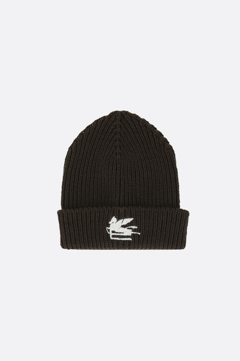 ETRO: Pegaso embroidered wool beanie Color Green_1