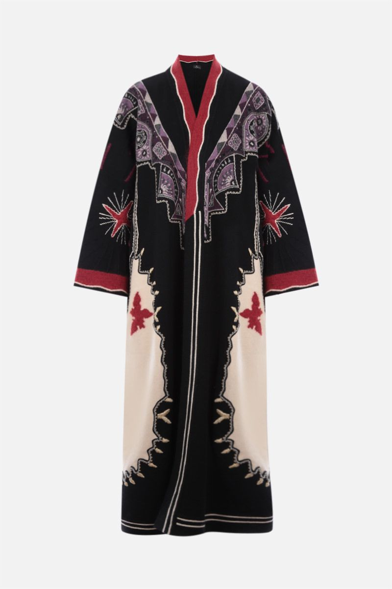 ETRO: embroidered wool blend coat Color Multicolor_1