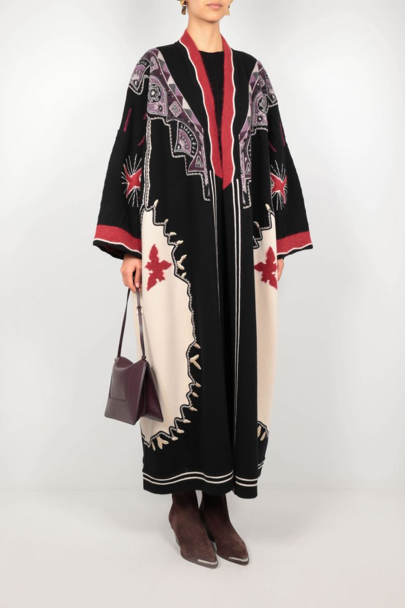 ETRO: embroidered wool blend coat Color Multicolor_2
