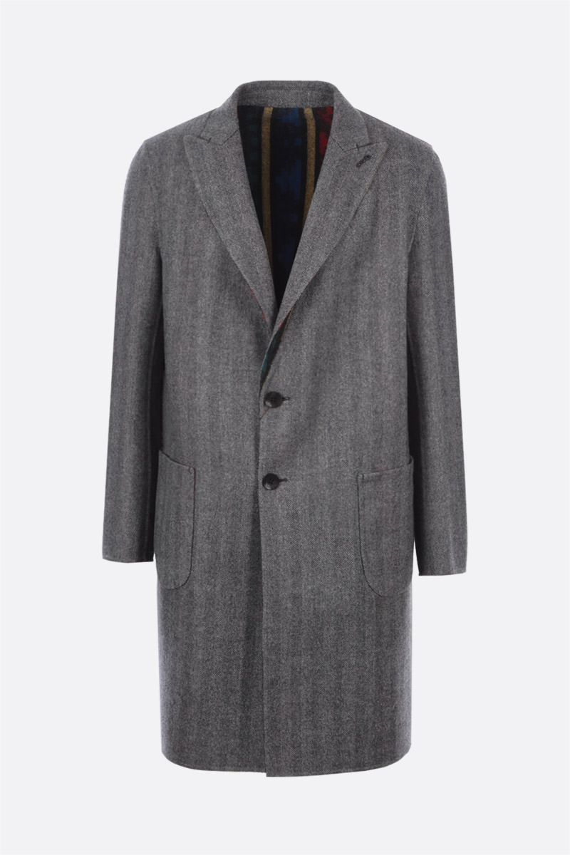 ETRO: reversible single-breasted wool coat Color Grey_1