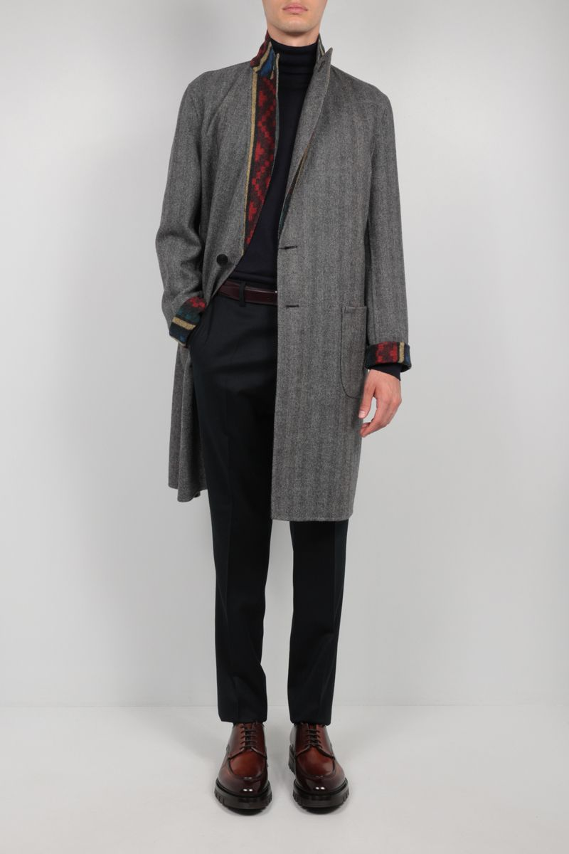 ETRO: reversible single-breasted wool coat Color Grey_2