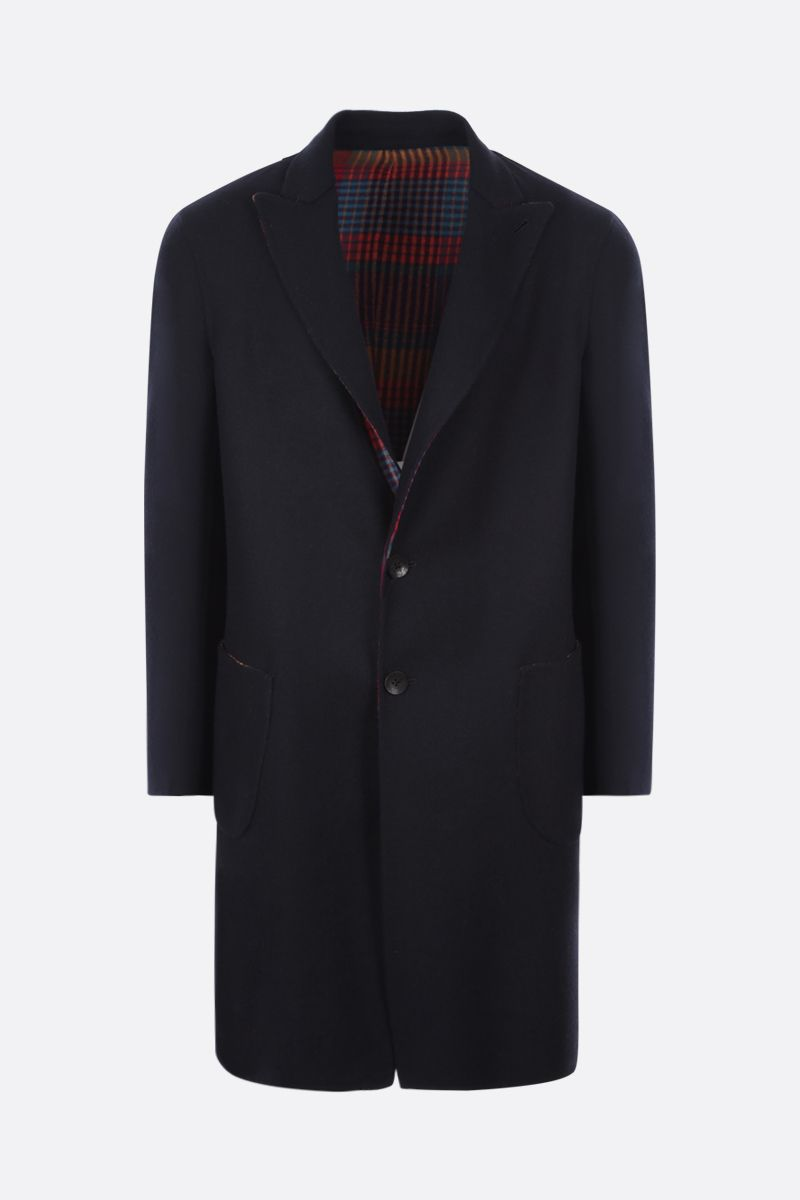 ETRO: reversible single-breasted wool coat Color Blue_1