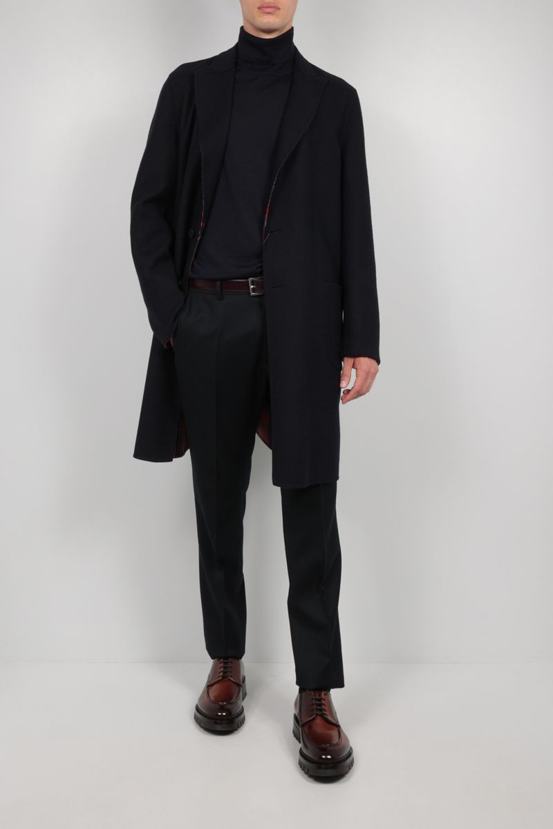 ETRO: reversible single-breasted wool coat Color Blue_2