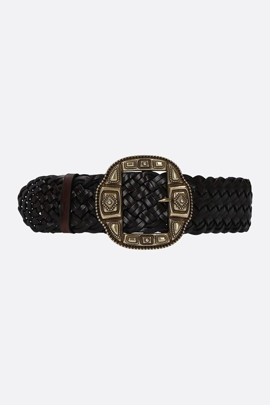 ETRO: woven leather waist belt Color Brown_1