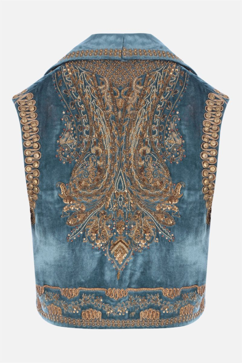 ETRO: velvet cropped vest with jewel embroidery Color Multicolor_2