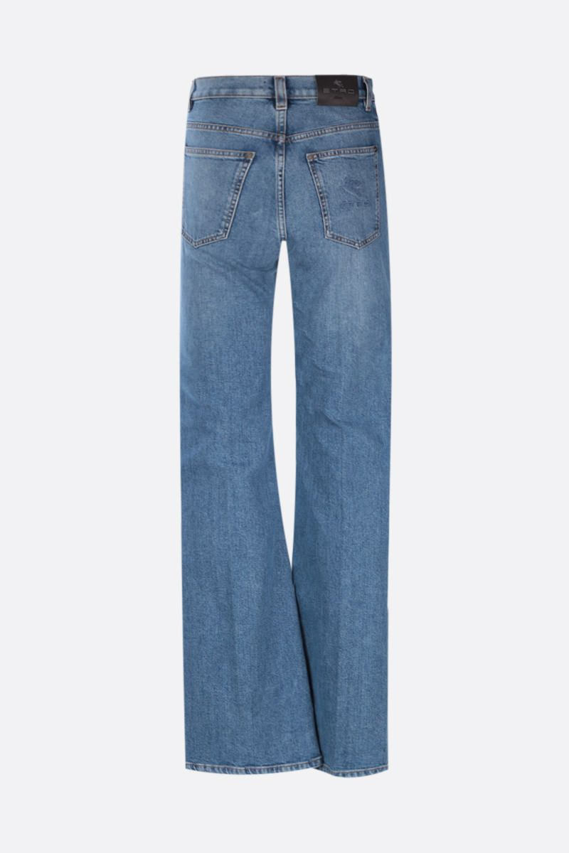 ETRO: logo embroidered flared jeans Color Blue_2