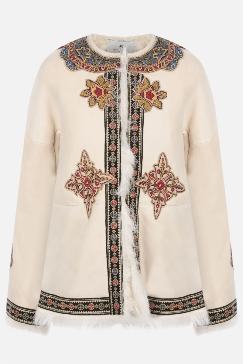 ETRO: geometric embroidery shearling jacket Color White_1
