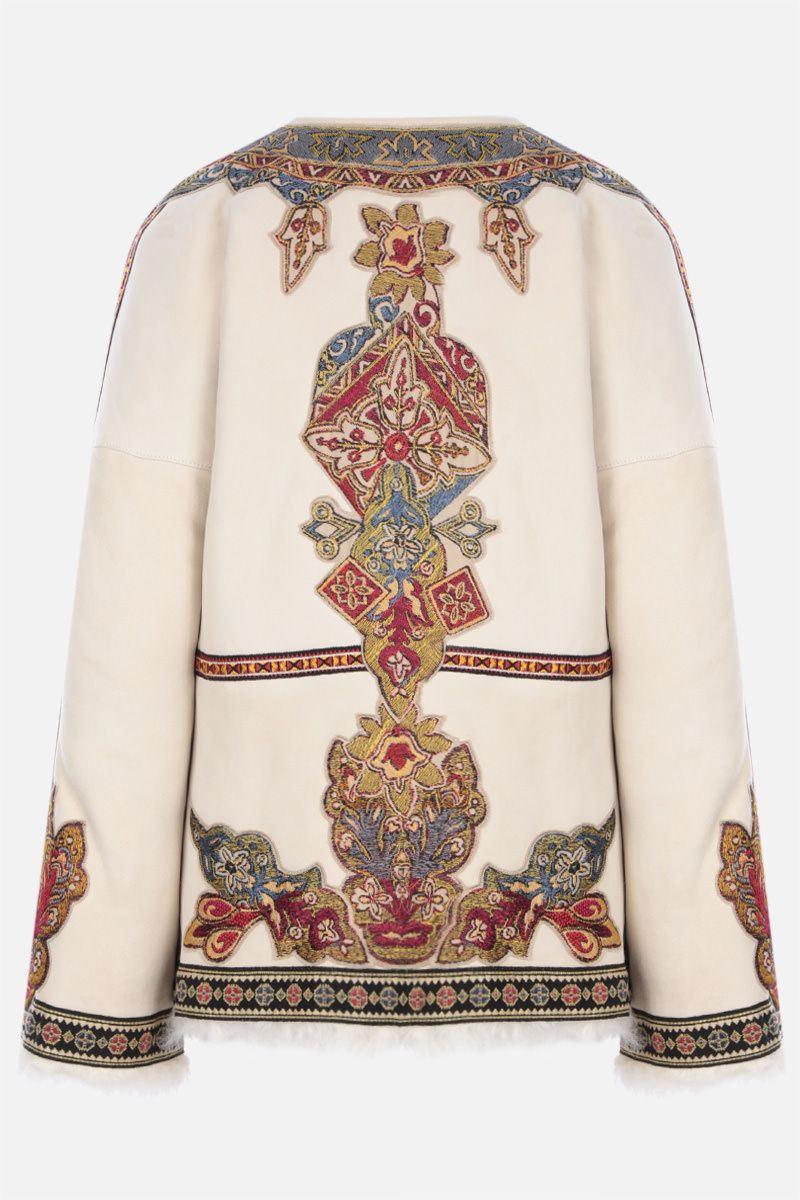 ETRO: geometric embroidery shearling jacket Color White_2