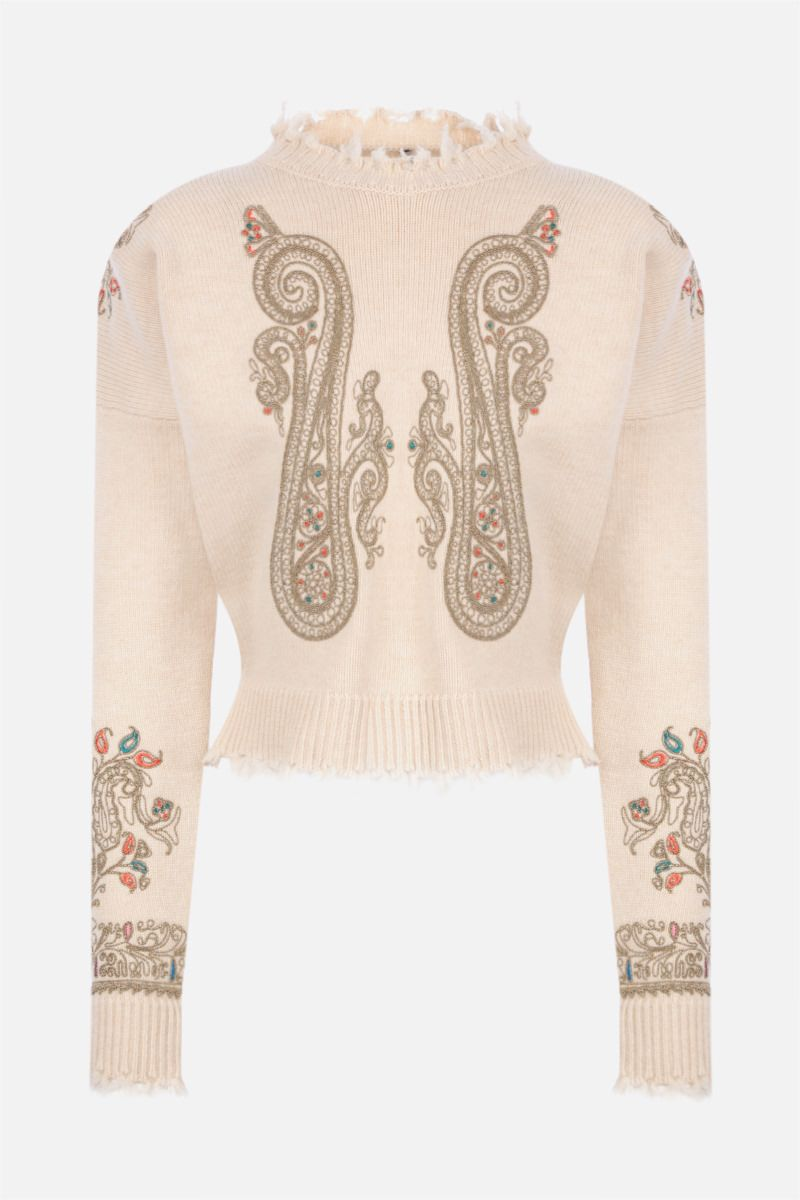 ETRO: Paisley-embroidered wool pullover Color Neutral_1