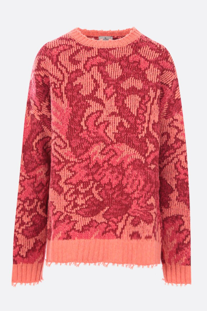 ETRO: oversize floral wool pullover Color Red_1