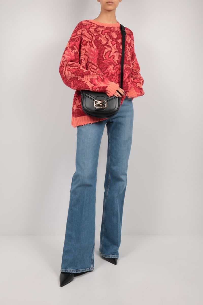 ETRO: oversize floral wool pullover Color Red_2