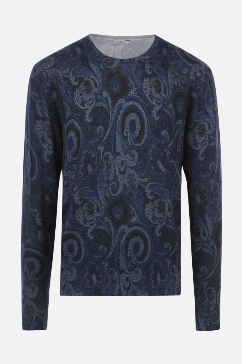 ETRO: paisley motif wool pullover Color Blue_1