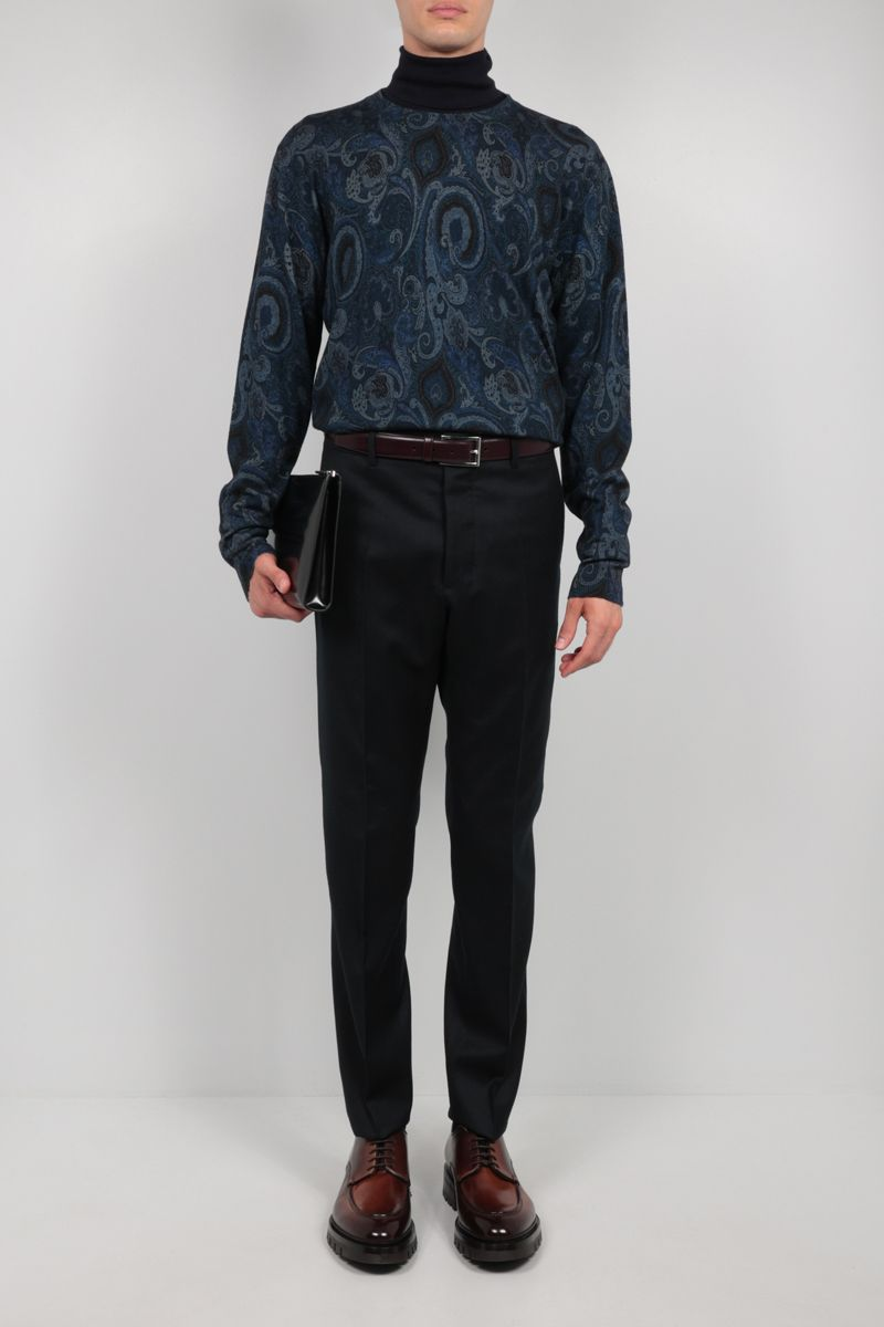 ETRO: paisley motif wool pullover Color Blue_2