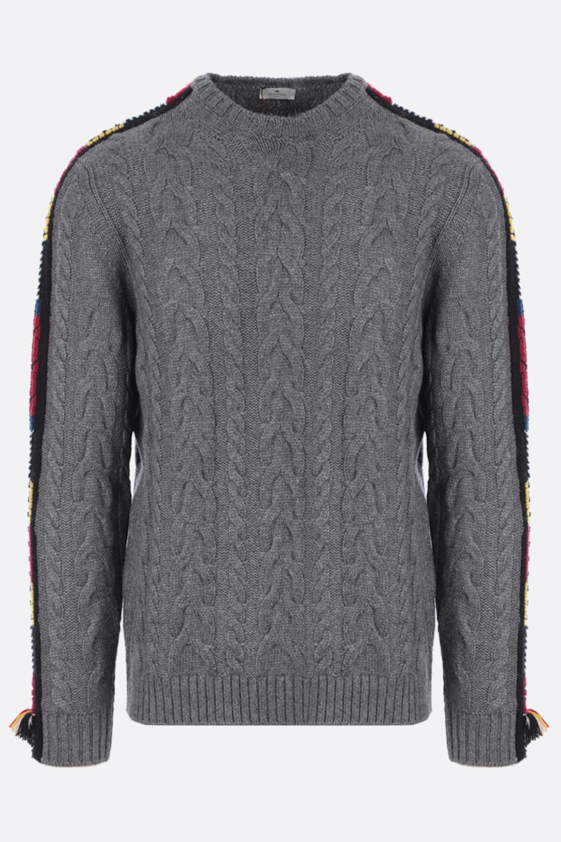 ETRO: embroidered cashmere blend pullover Color Grey_1
