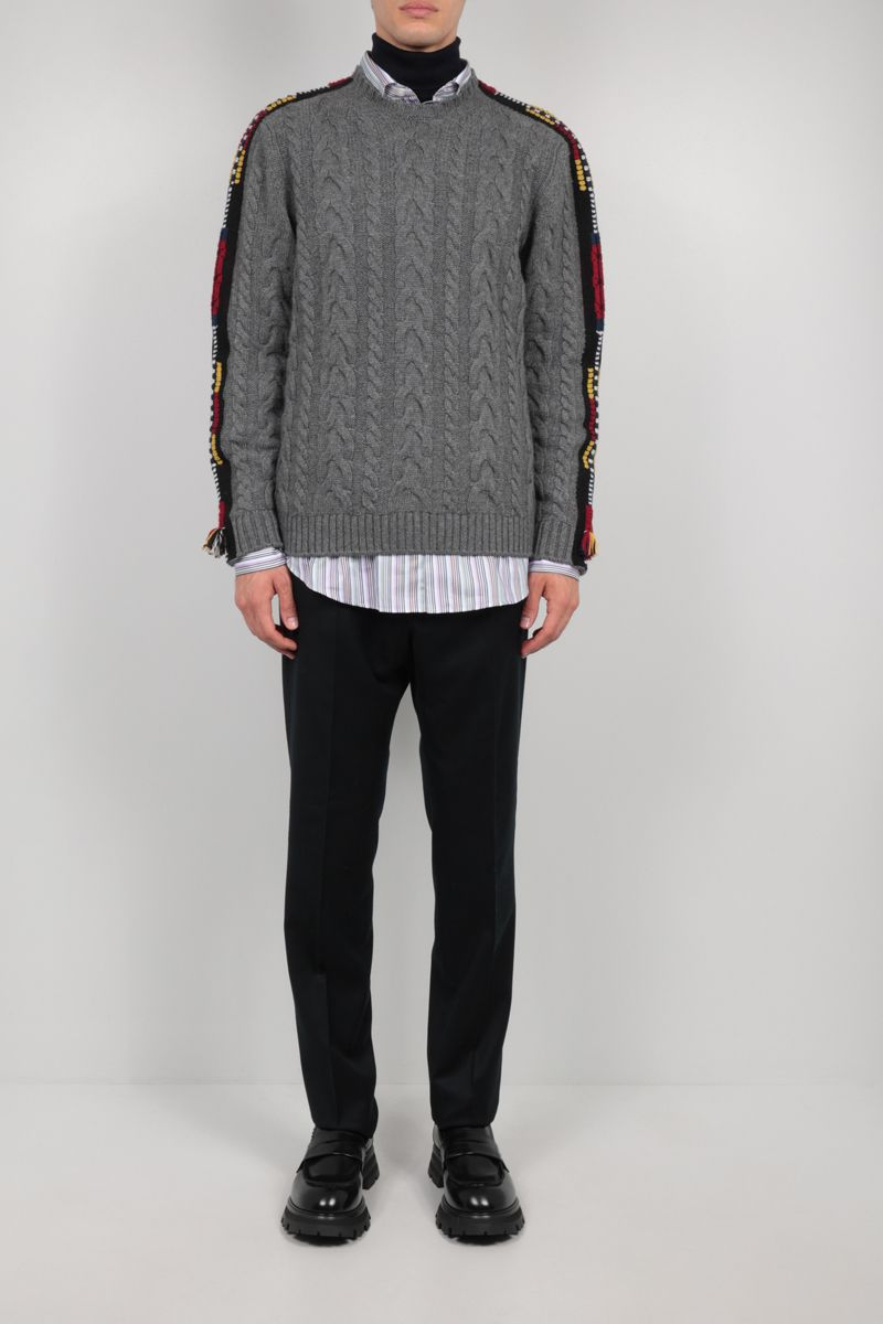 ETRO: embroidered cashmere blend pullover Color Grey_2