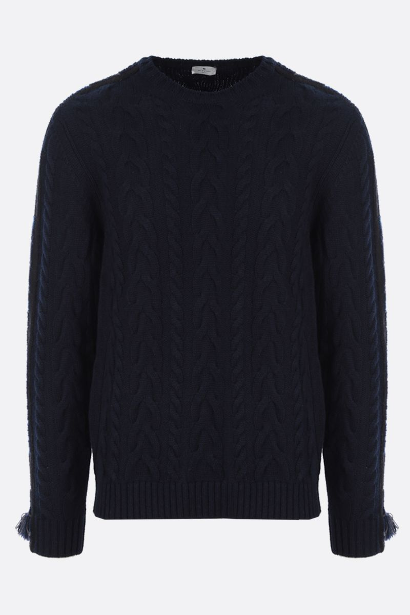 ETRO: embroidered cashmere blend pullover Color Blue_1