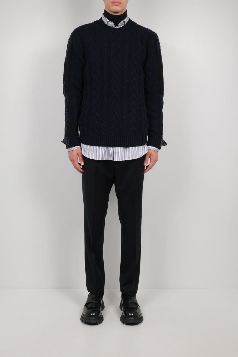 ETRO: embroidered cashmere blend pullover Color Blue_2