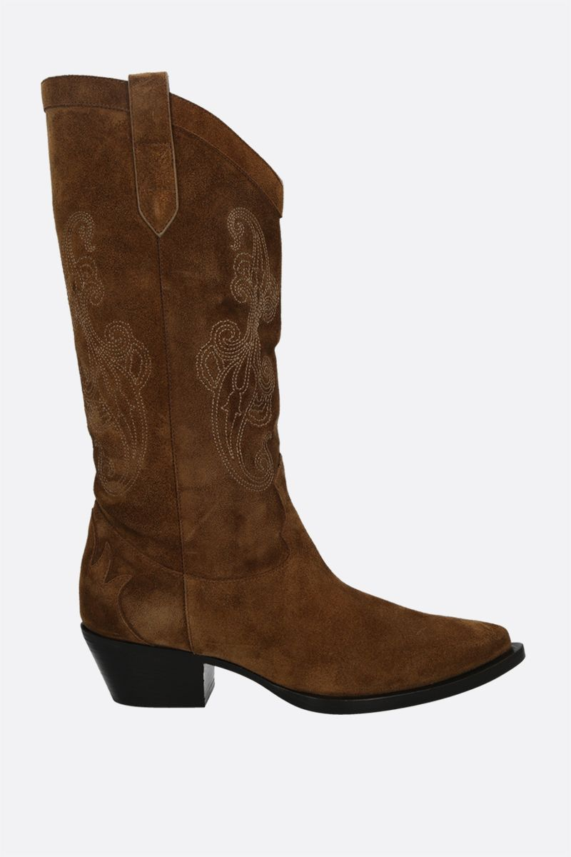 ETRO: Paisley embroidered suede western boots Color Brown_1
