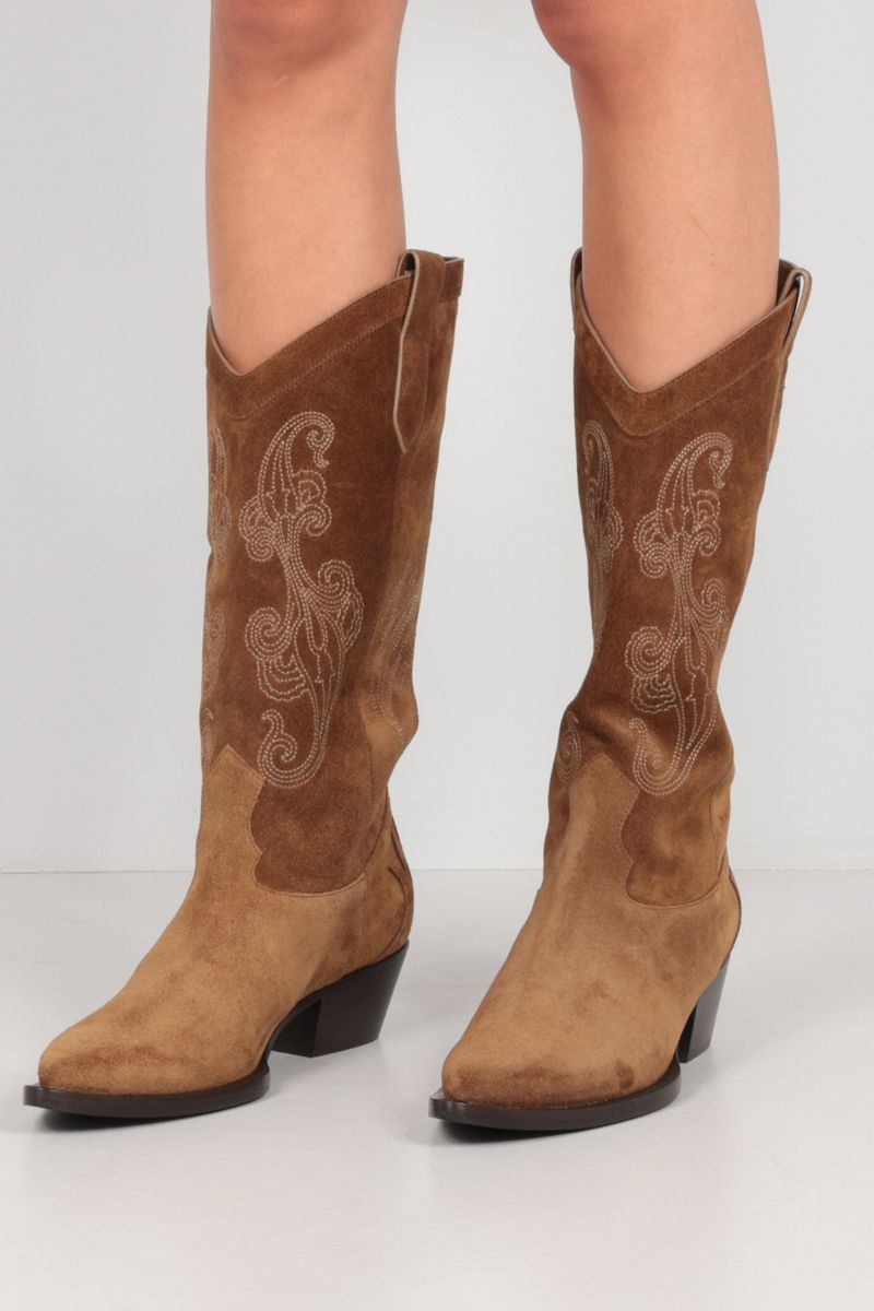 ETRO: Paisley embroidered suede western boots Color Brown_2