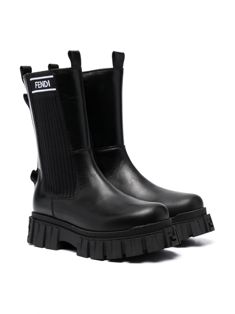 FENDI KIDS: logo-detailed smooth leather calf-length boots Color Black_1