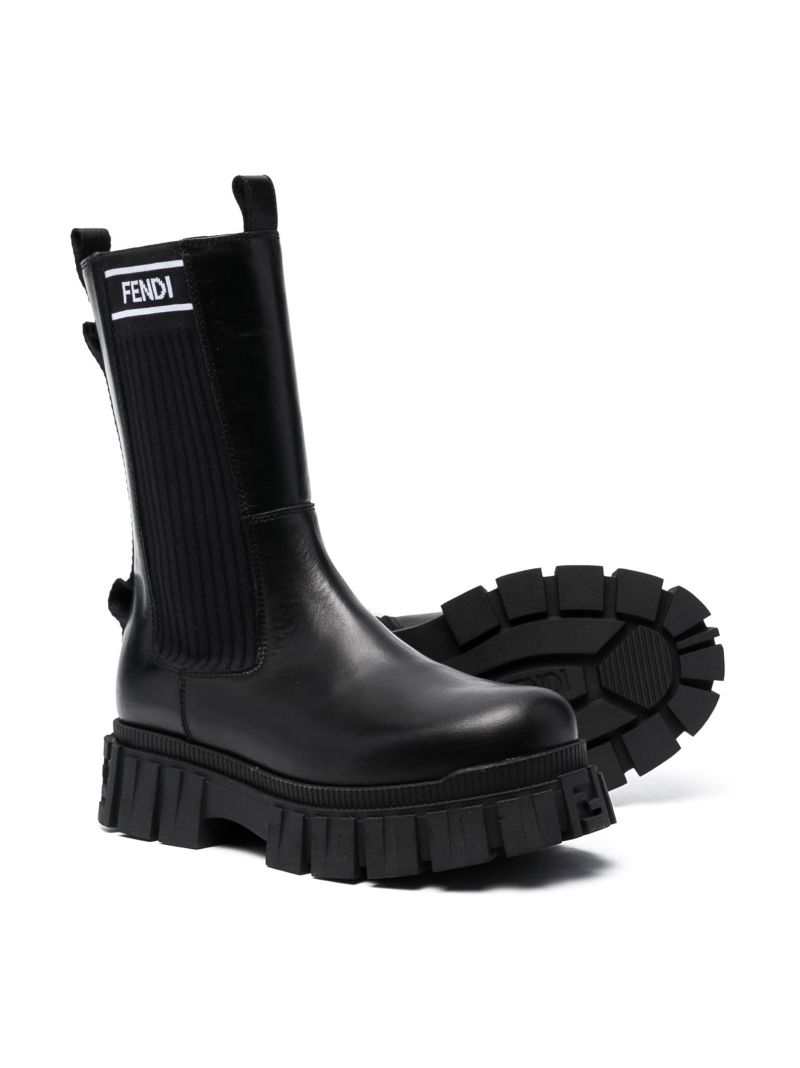 FENDI KIDS: logo-detailed smooth leather calf-length boots Color Black_2