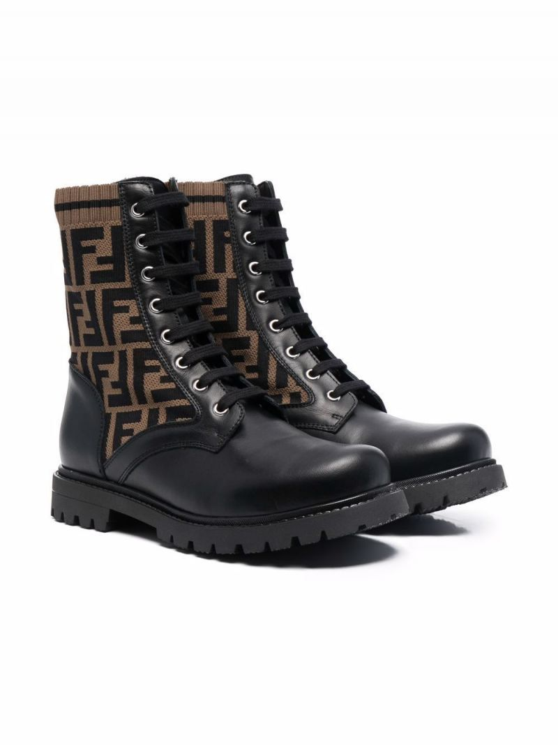 FENDI KIDS: combat boots in smooth leather and FF motif knit Color Black_1