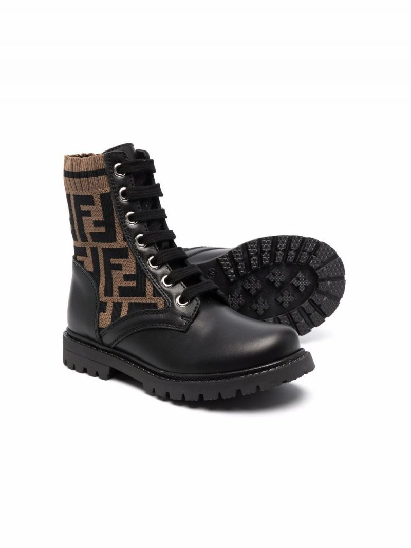 FENDI KIDS: combat boots in smooth leather and FF motif knit Color Black_2