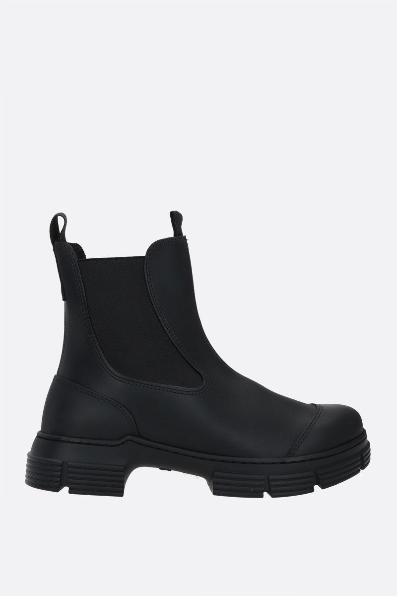 GANNI: City recycled rubber chelsea boots Color Black_1
