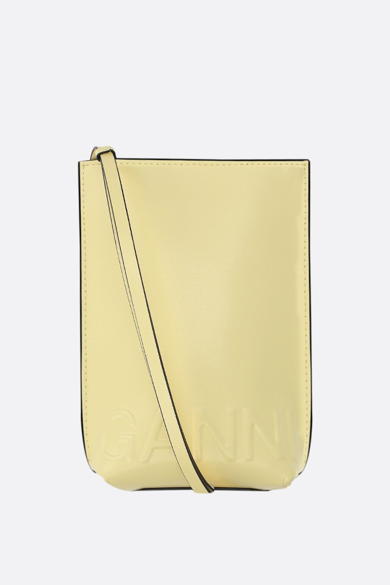 GANNI: recycled leather crossbody bag Color Yellow_1