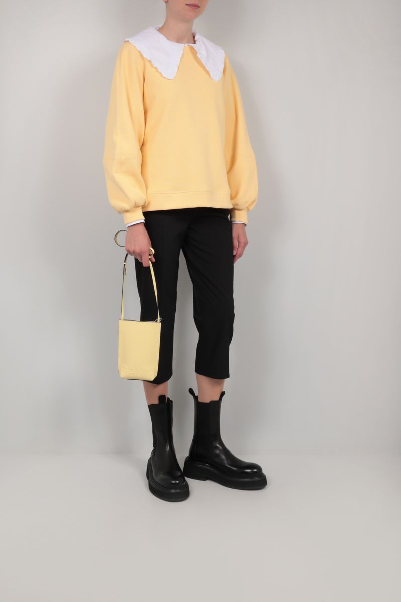 GANNI: recycled leather crossbody bag Color Yellow_2