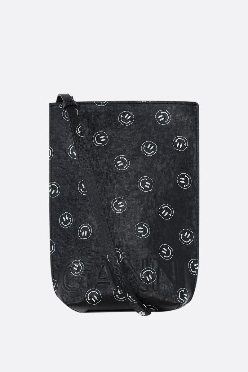 GANNI: Smiley-print recycled leather crossbody bag Color Black_1