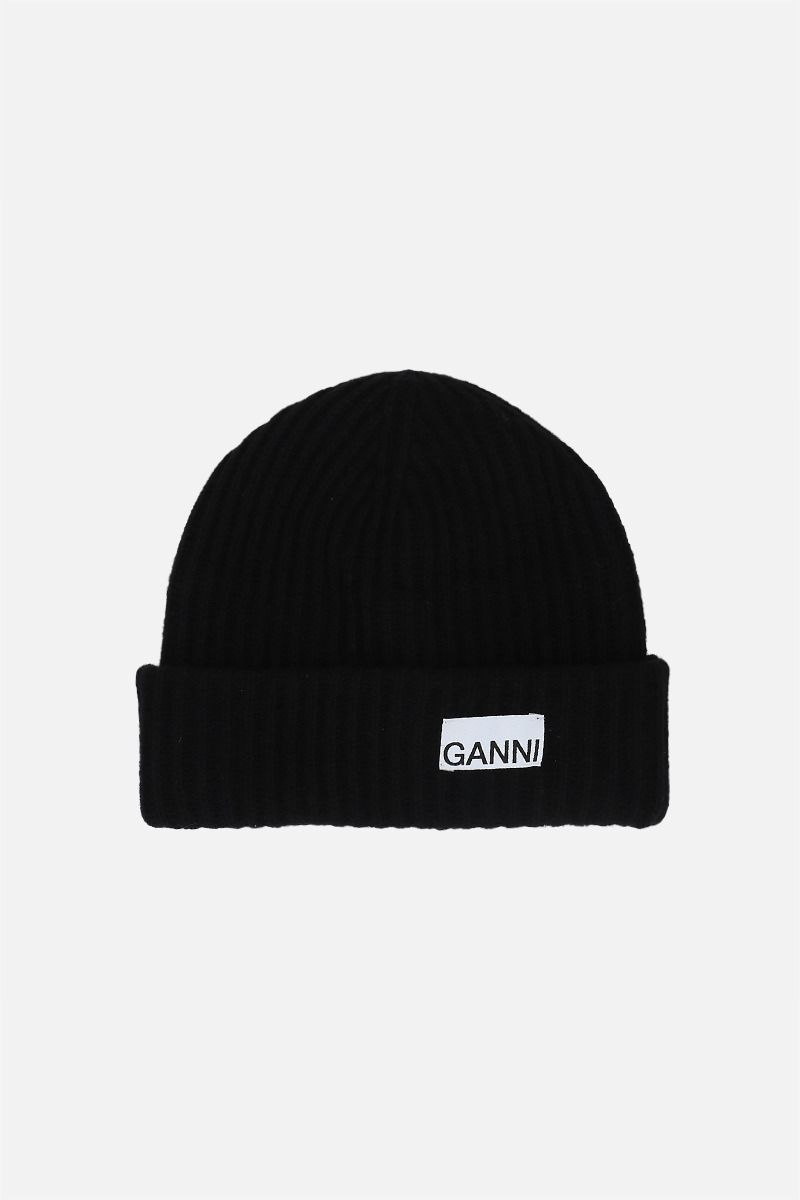 GANNI: recycled wool blend beanie Color Black_1