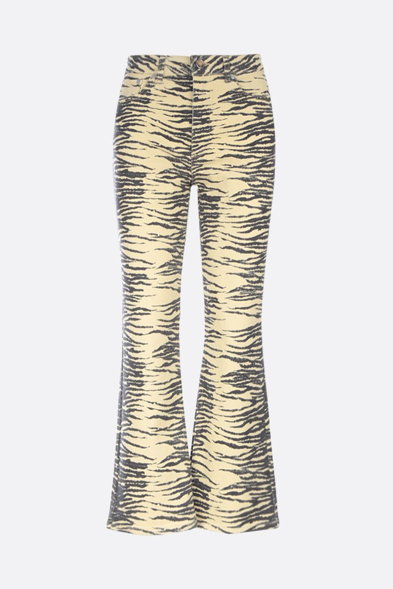 GANNI: zebra print cropped jeans Color Yellow_1