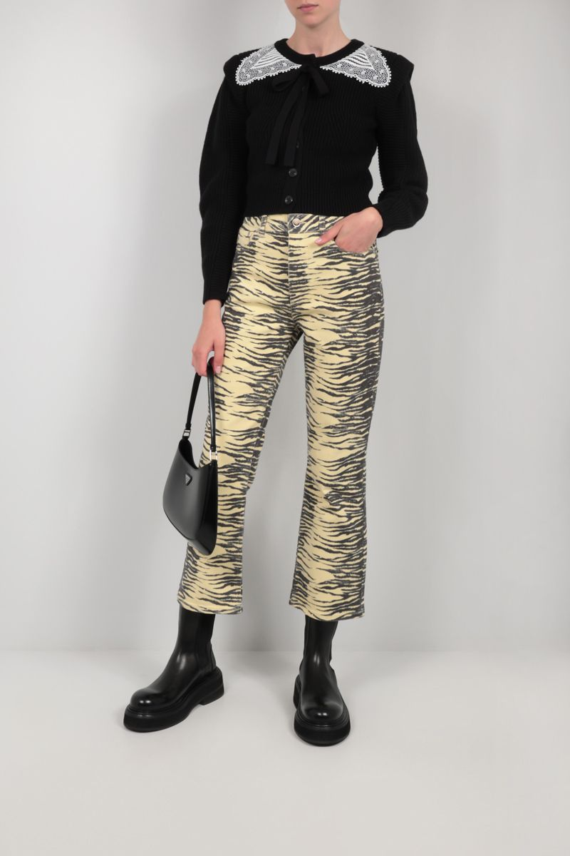 GANNI: zebra print cropped jeans Color Yellow_2