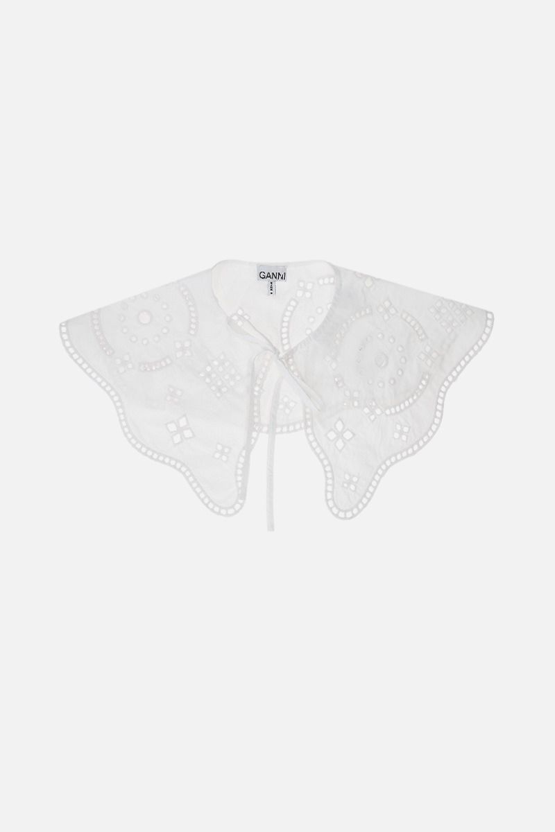 GANNI: broderie anglaise collar Color White_1