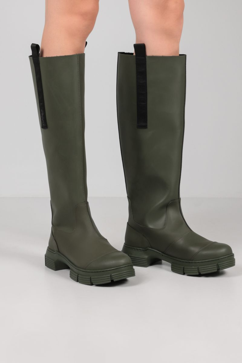GANNI: recycled rubber boots Color Green_2