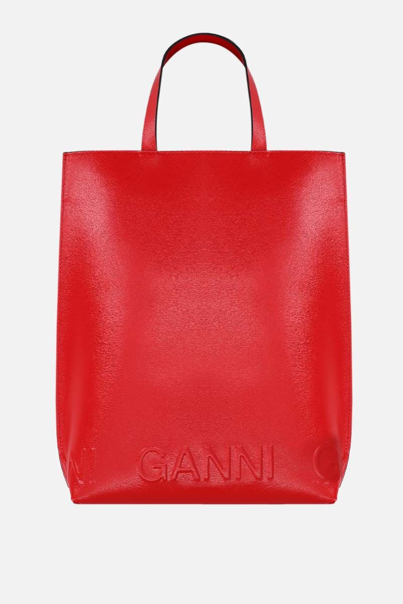 GANNI: Banner medium recycled leather tote bag Color Red_1