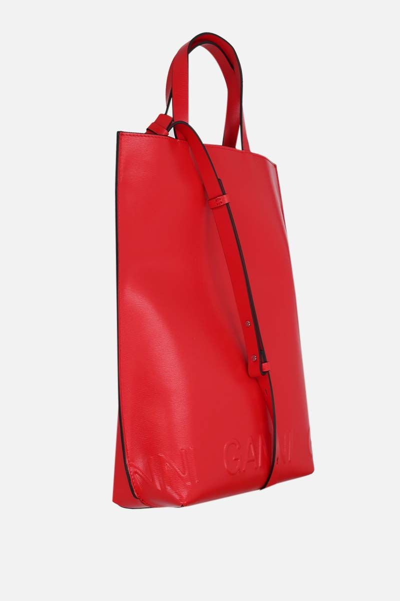 GANNI: Banner medium recycled leather tote bag Color Red_2