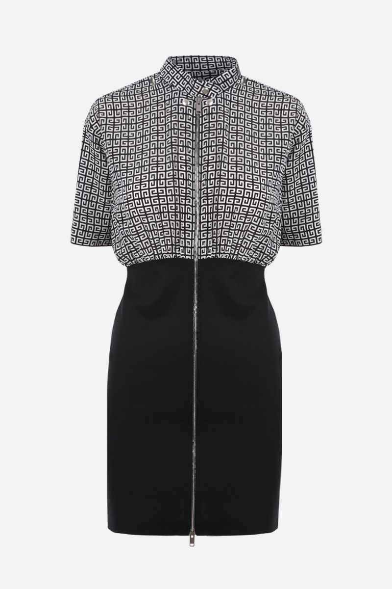 GIVENCHY: 4G silk and knit short dress Color Black_1