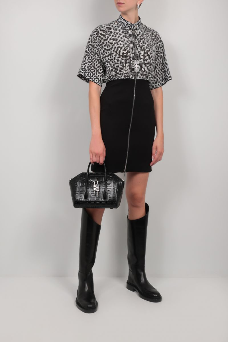 GIVENCHY: 4G silk and knit short dress Color Black_2