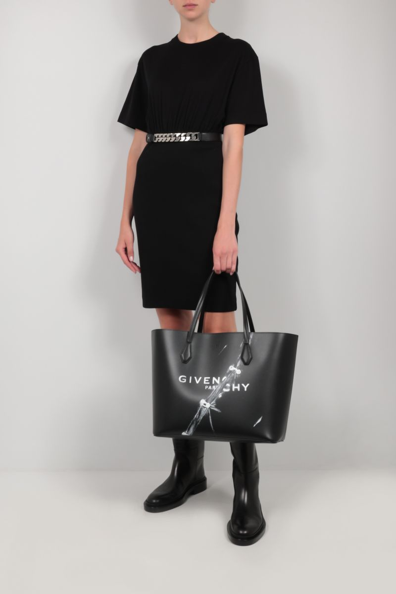 GIVENCHY: 4G embroidered cotton short dress Color Black_2