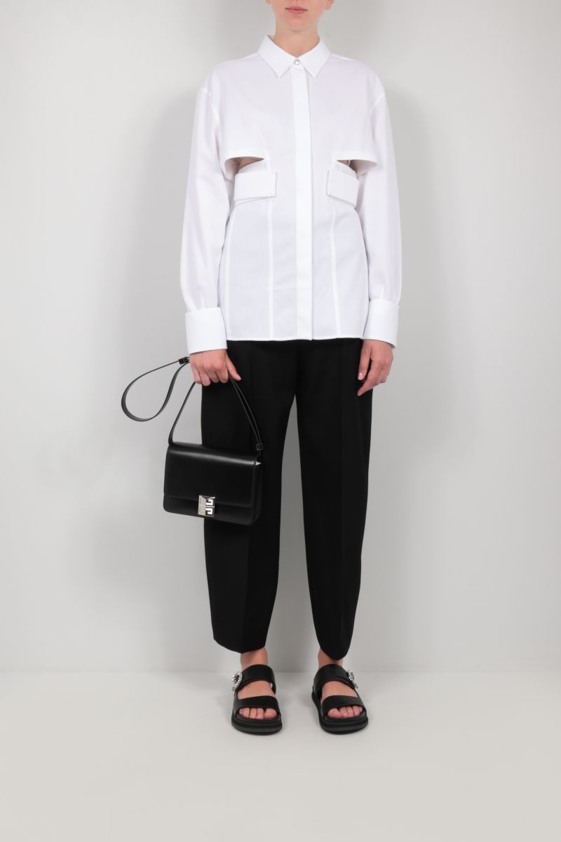 GIVENCHY: cut-out textured cotton shirt Color White_2