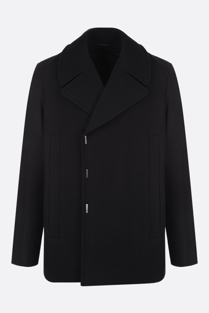 GIVENCHY: double-breasted wool felt coat Color Black_1