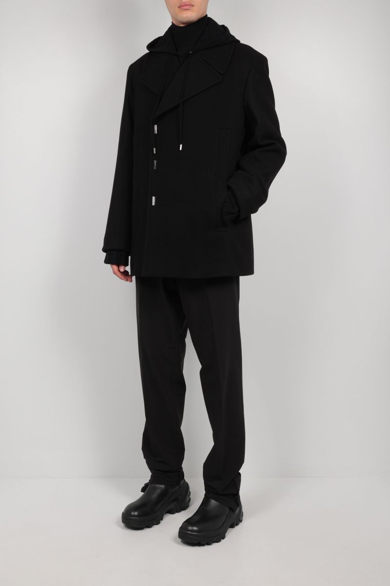 GIVENCHY: double-breasted wool felt coat Color Black_2