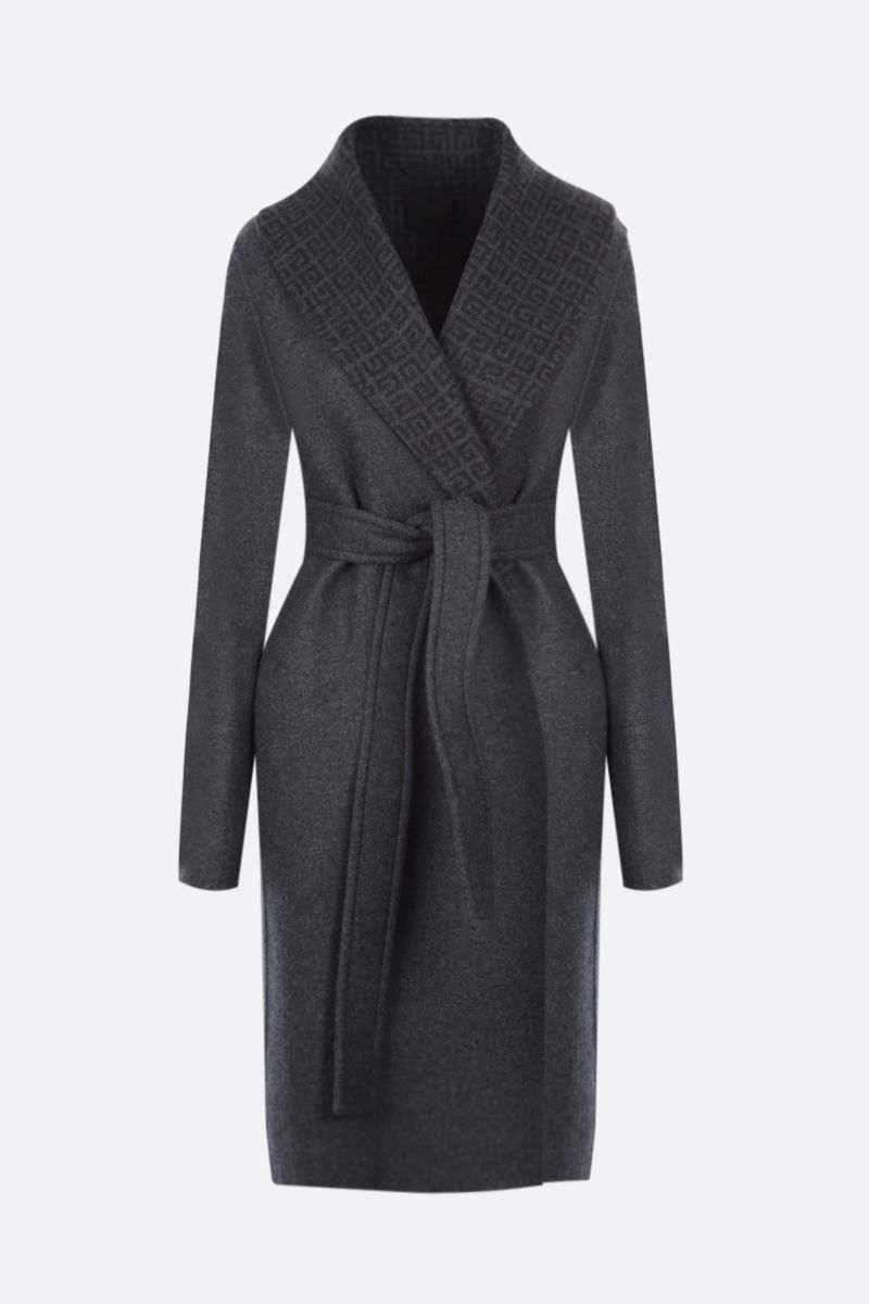GIVENCHY: silk cashmere wool blend wrap coat Color Grey_1