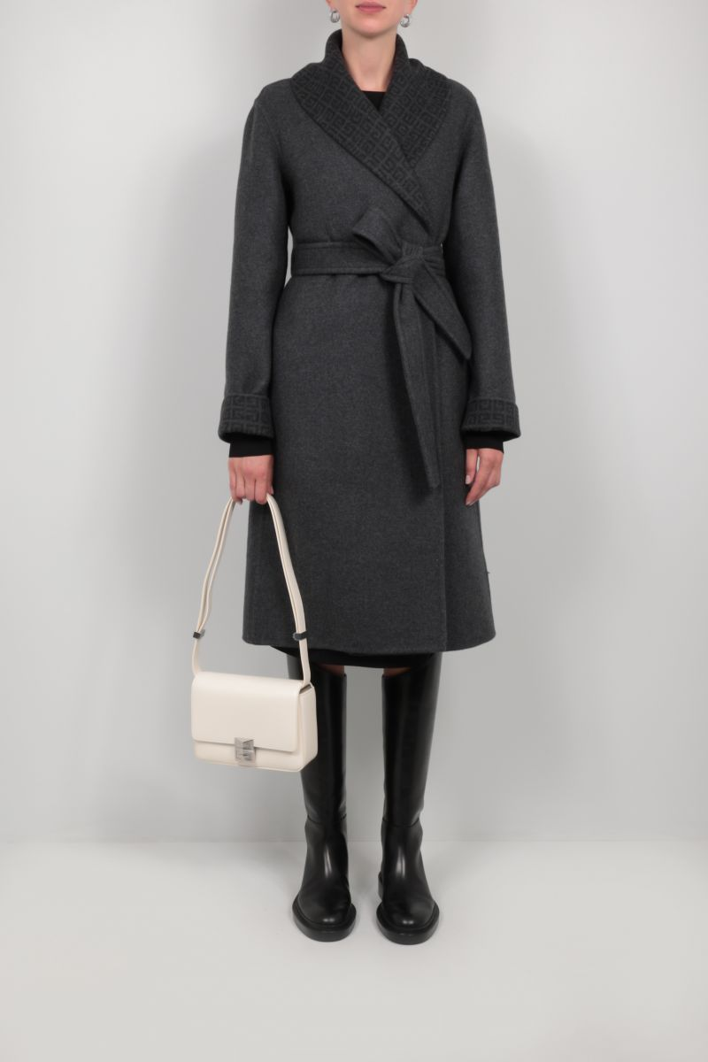 GIVENCHY: silk cashmere wool blend wrap coat Color Grey_2